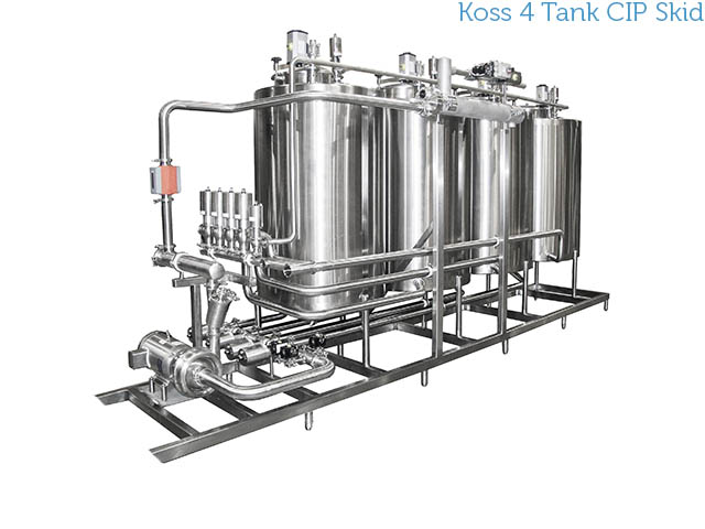 Koss Industrial stainless steel 4 tank CIP skidded system